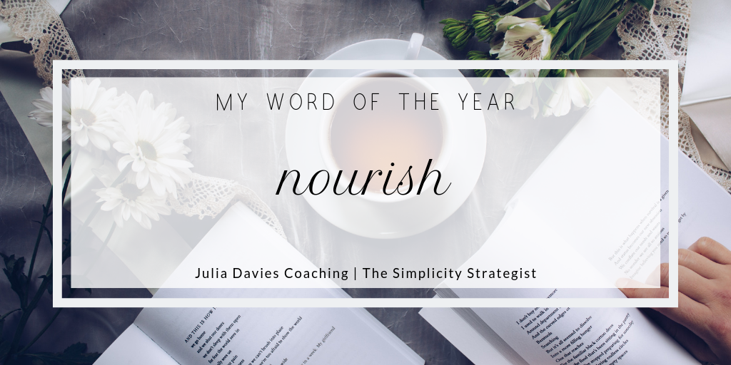 graphic showing Julia Davies's word of the year for 2019 - nourish
