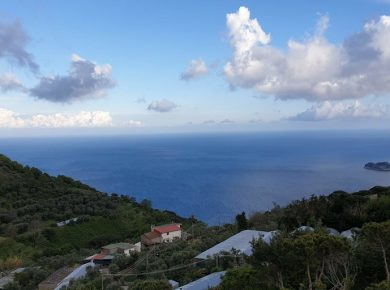 A view across the sea from a mountain top near sorrento