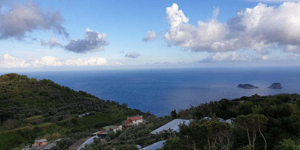 A view across the sea from a mountain top near sorrento
