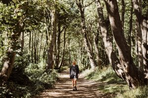 Julia Davies in the forest in Worthing