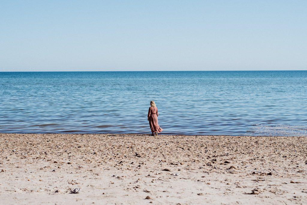 Julia Davies on the beach in Worthing